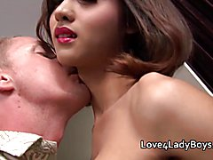 Cum facial and assfucking for Asian ladyboy