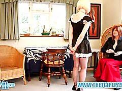 Crossdresser Mistress Luci May punishes spanks blonde tranny maid tight ass giving her a lov...