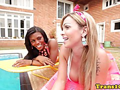 Black latina tgirl cocksucked in twosome then fucked in ass outdoors