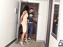 Becca Fatale & Lina Cavalli find a cute nerdy guy wandering around the lobby of their hotel,...