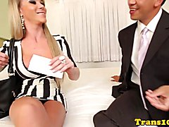 Stockinged tgirl anally pounded after blowjob with this lucky guy