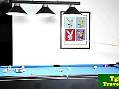 Busty trans trap tugs hard cock on pool table after game