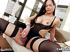 Ana Clara is a naughty Latin shemale babe who teases us in some hot lingerie and she even st...