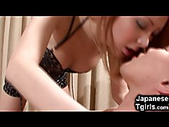 Petite teen japanese shemale rides her boyfriend's big cock and gets her tiny boipussy fucke...