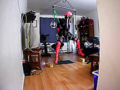 self bondage suspension with some muscle cream and tens unit for added fun.. and chastity an...