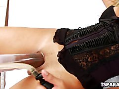 Karol Kovalick is a gorgeous Latin shemale babe who enjoys having some fun with a vacuum pum...
