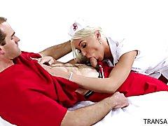 Nurse Aubrey Kate and Dr. Jonah Marx have fun behind closed doors.