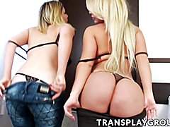 Big-assed blonde TS Carol Penelope introduces her girlfriend, curvaceous biological female N...