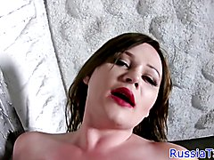 Thick russian tgirl with bigtits jerking cock during solo session