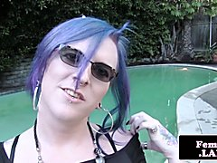 Alternative amateur trans in spex tugging her cock by the pool