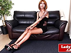 Inked asian trans with long legs stripsdown and jerks solo