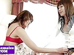 Amateur ladyboys lesbians grinding together before analsex