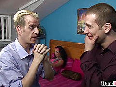 Transsexual babysitter Danika Dreamz is ready for double anal penetration