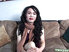 Cockloving asian tranny tugs on her dong during a casting interview