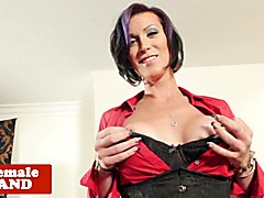 Busty inked mature trans beauty strips and wanks cock solo