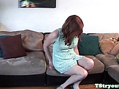 Roundass casting tranny tugging on her fat dick while being filmed