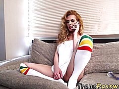 Blonde big titted shemale wanking her big stiff rod after talking to her boyfriend on the ph...