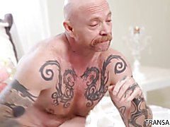 Willowy TS beauty Mandy Mitchell shows FTM sexy trans stud Buck Angel the softer side of sex...