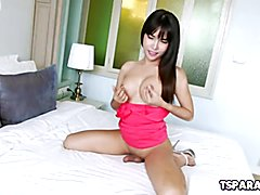 Layla E is a lovely Asian shemale babe who is eager to display her nice tits and even stroke...
