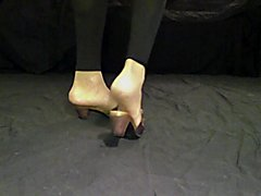 Cd fuck asspussy latex body feet in tan nylon socks and mules