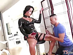 She smacks Gabriel's butt as he rides her cock, and she harshly pounds the athletic stu...