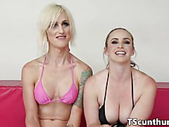 Muscular wresting TS with bigtits creampies pierced pussy