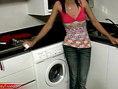 Be is dressed to satisfy your physical cravings in red apron and your doubts about her femin...
