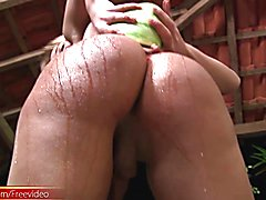 This pretty blonde shemale likes all kinds of fruit. She got so naughty when cutting a melon...