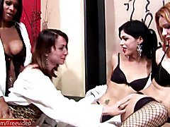 These four tranny girlfriends give a whole new meaning to the word massage. They were all dr...