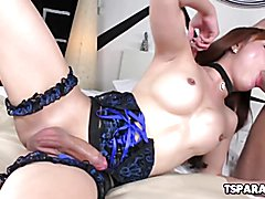 Plam is a lovely Asian shemale babe who gives Youlian some head and lets the stud fuck her h...