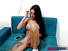 Tattooed Tranny Fucks Her Girlfriend  - ShemaleDreamCams.Com