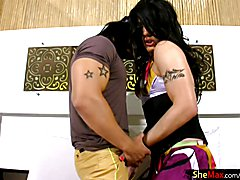 Slutty femboy cutie Sabrina Slavieiro and nasty BF Rick take turns sucking each others huge ...