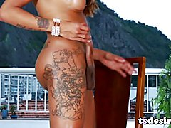 Tayla Leal is a sexy Latin shemale babe who bends over to show off her big ass and even stro...