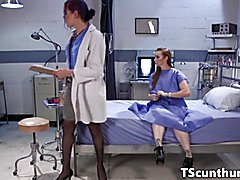 Cocksucked TS doctor cleansup pussy creampie  - clip #
