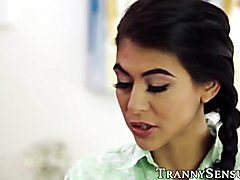 Exquisite latin trans chick is furious at her pretty assistant for stealing, and the only th...