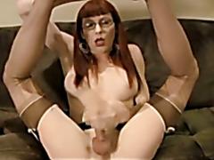 Tara Jerks Her Throbbing Cock & Cums on Her Glasses