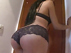 Sexy Shemale Carolina jerks off until she explodes