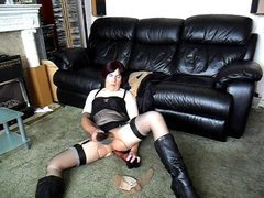 Kinky crossdresser is dressed in a seductive black lingerie and nylon pantyhose and cums har...