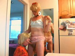 Check out these nasty sissy sluts Wendy Jane and Cyndee that adores passionate oral sex. Cyn...